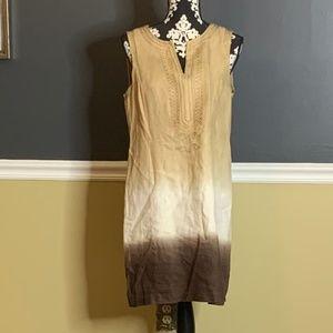 Michael Kors Linen Ombre Brown Tunic Dress Sz 10